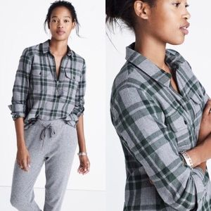 🍂 MADEWELL Flannel Zip Front Shirt Green Plaid XS